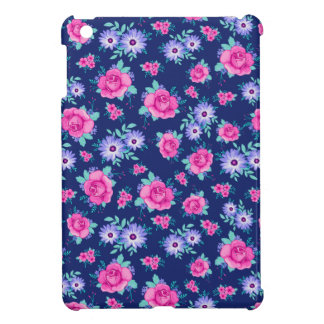 Elegant Roses Floral Pink Purple Blue Pattern iPad Mini Case