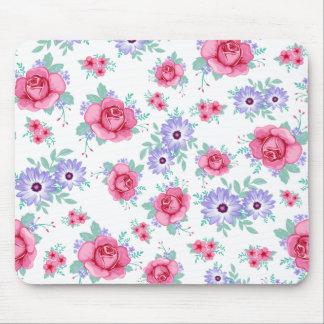 Elegant Roses Floral Pink Purple White Pattern Mouse Pad