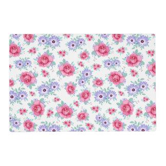 Elegant Roses Floral Pink Purple White Pattern Placemat