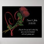Elegant Roses Heart Wedding Or Anniversary Poster