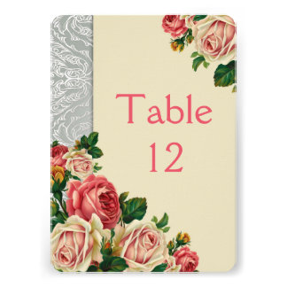Elegant Roses Ivory Silver Damask Table card