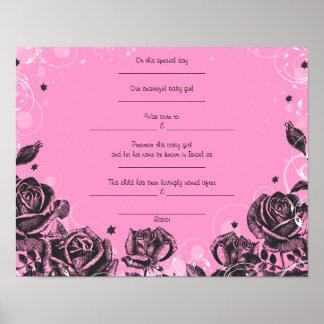 Elegant Roses Jewish Baby Naming Birth Certificate Poster