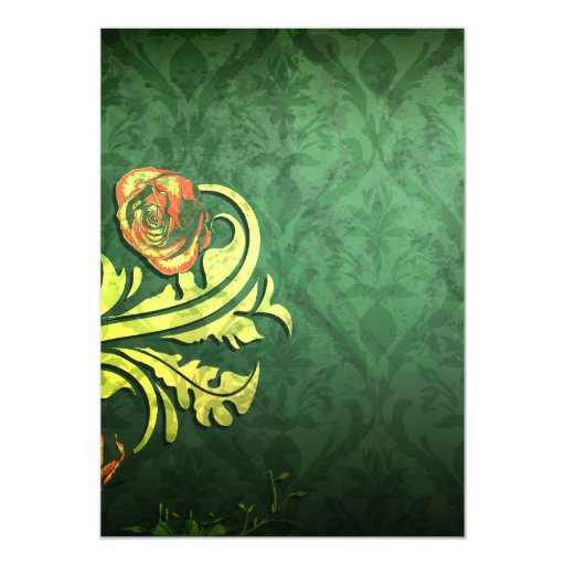 elegant roses on green damask design 5x7 paper invitation card