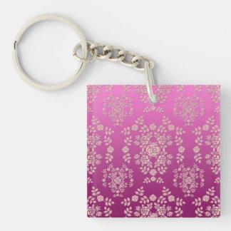 Elegant Roses Pink Floral Damask Pattern Keychain