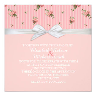 Elegant Roses Pink Line Damask Wedding Invite
