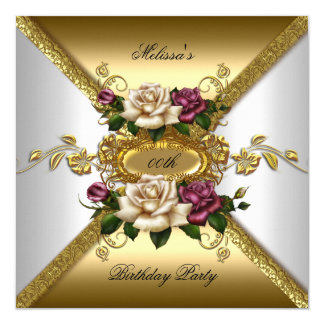 Elegant Roses Pink White Gold Birthday Party 2 5.25x5.25 Square Paper Invitation Card