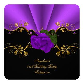 Elegant Roses Purple Black Gold Birthday Party Card