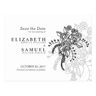 Elegant Roses Tattoo White Save the Date Postcard