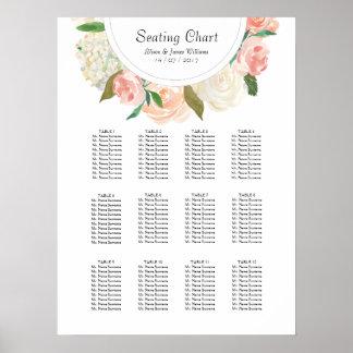 Elegant roses weddin dinner seating chart