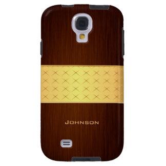 Elegant Rosewood with Gold Luxury Custom Name Galaxy S4 Case