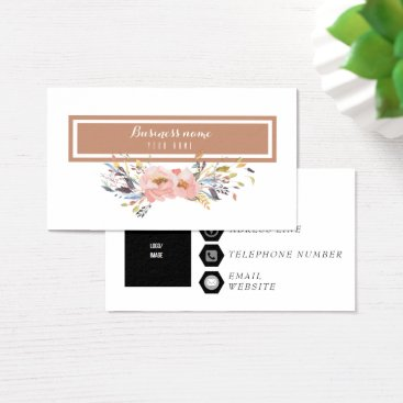 Beach Themed Elegant Rosy Pink Watercolor Flowers Business Card