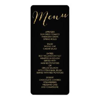 Elegant Round Black And Gold Foil Wedding Menu Card