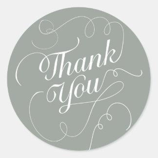 Elegant Round Thank You Sticker / Envelope Seal