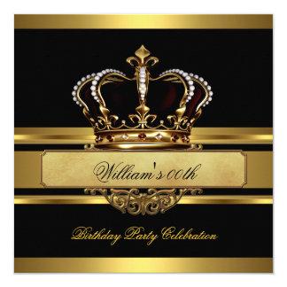 Elegant Royal Black Gold Birthday Prince King Card