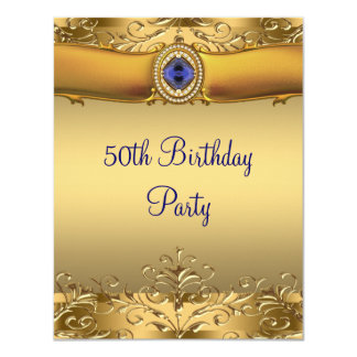 Elegant Royal Blue and Gold 50th Birthday Party Card