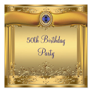 Elegant Royal Blue and Gold 50th Birthday Party Invite