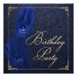 Elegant Royal Blue and Gold Peacock Birthday Party Custom Invitations
