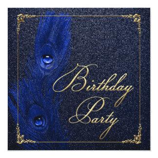 Elegant Royal Blue and Gold Peacock Birthday Party Invitation