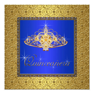 Elegant Royal Blue and Gold Quinceanera Card