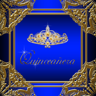 Royal Blue Gold Quinceanera Invitations Zazzle