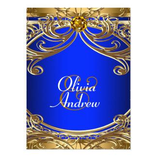 Elegant Royal Blue and Gold Wedding Card