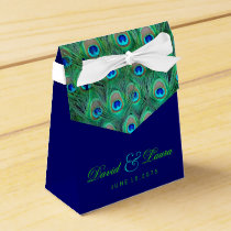 Elegant Royal Blue and Green Peacock Wedding Favor Box