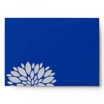 Elegant Royal Blue and Silver Gray Floral Burst Envelope