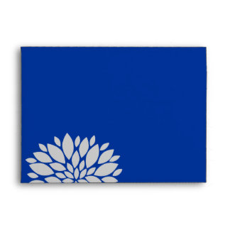 Elegant Royal Blue and Silver Gray Floral Burst Envelope