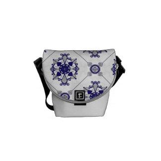 Elegant Royal Blue and Silver Medallion Pattern Messenger Bag