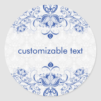 Elegant Royal Blue And White Damasks & Swirls 2 Classic Round Sticker