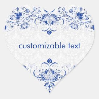 Elegant Royal Blue And White Damasks & Swirls 2 Heart Sticker