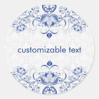 Elegant Royal Blue And White Damasks & Swirls 2 Classic Round Sticker
