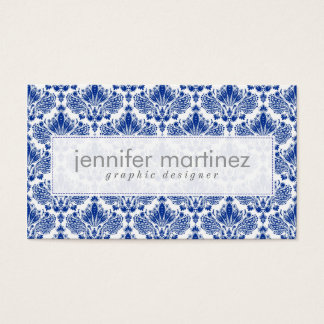 Elegant Royal Blue And White Damasks & Swirls Business Card