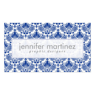 Elegant Royal Blue And White Damasks & Swirls Double-Sided Standard Business Cards (Pack Of 100)