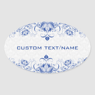 Elegant Royal Blue And White Damasks & Swirls Oval Sticker