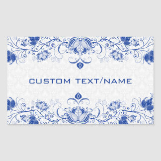 Elegant Royal Blue And White Damasks & Swirls Rectangular Sticker