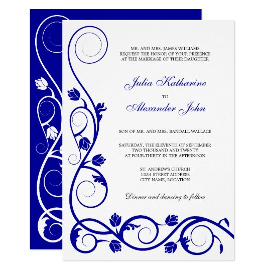 Elegant Royal Blue and White Swirls Card