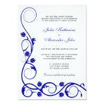 "Elegant Royal Blue and White Swirls Invitation 5"" X 7"" Invitation Card"