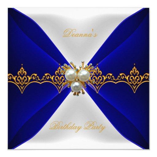 elegant royal blue birthday gold jewel white silk card