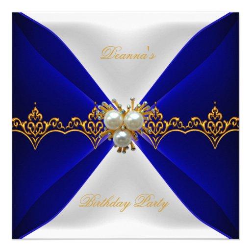 Elegant Royal Blue Birthday Gold Jewel White Silk Personalized Announcements