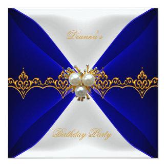 Elegant Royal Blue Birthday Gold Jewel White Silk 5.25x5.25 Square Paper Invitation Card