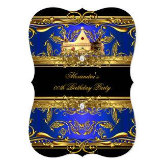 Elegant Royal Blue Black King Queen Birthday Party Card