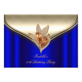Elegant Royal Blue Bronze Brown Gold Party Card