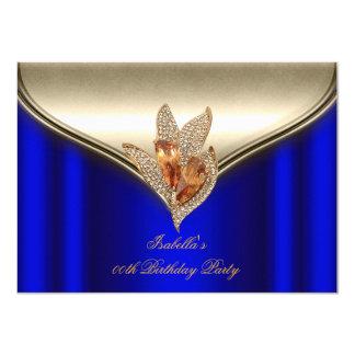 Elegant Royal Blue Bronze Brown Gold Party 4.5x6.25 Paper Invitation Card