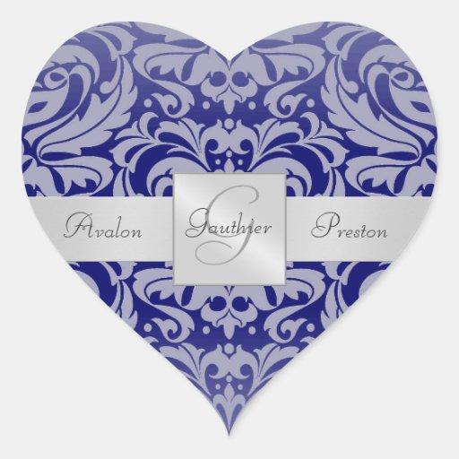 Elegant Royal Blue Damask Heart Wedding Sticker