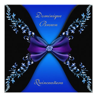 Elegant Royal Blue Diamond Bow Personalized Invite