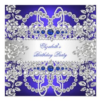 Elegant Royal Blue Diamonds Silver Floral Birthday Card