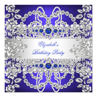 Elegant Royal Blue Diamonds Silver Floral Birthday 5.25x5.25 Square Paper Invitation Card
