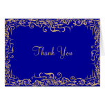 Elegant,royal Blue,floral Thank You Card at Zazzle