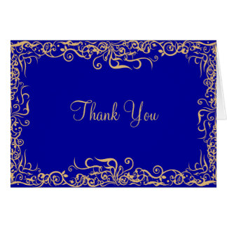 Elegant,Royal Blue,Floral Thank You Card
